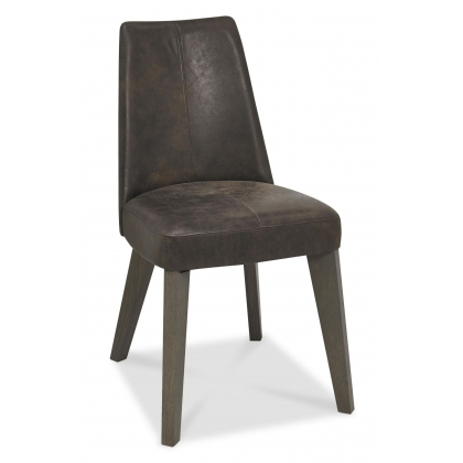 Cadell Upholstered Dining Chair (Distressed Brown Leather)