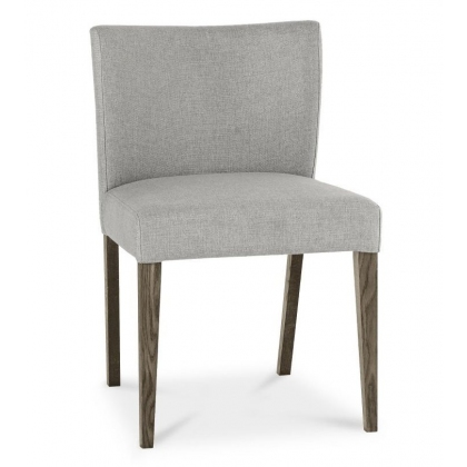 Turin Dark Oak Low Back Upholstered Chair (Pebble Grey)