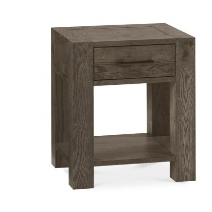 Turin Dark Oak Lamp Table With Drawer