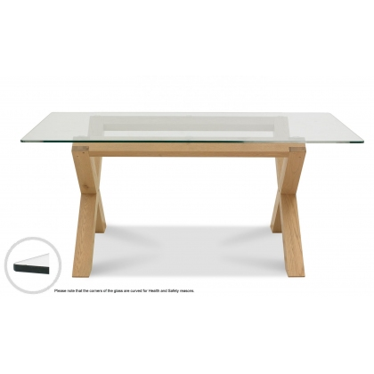 Turin Light Oak Glass Top Dining Table