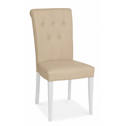 Hampstead Two Tone Upholstered Rollback Chair (Ivory Bonded Leather)