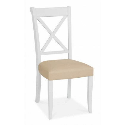 Hampstead Two Tone X-Back Chair (Ivory Bonded Leather)
