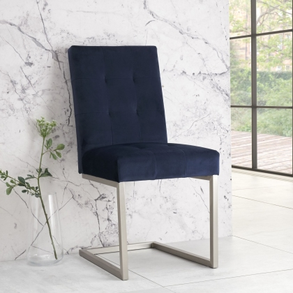 Tivoli Upholstered Cantilever Chair - Dark Blue Velvet