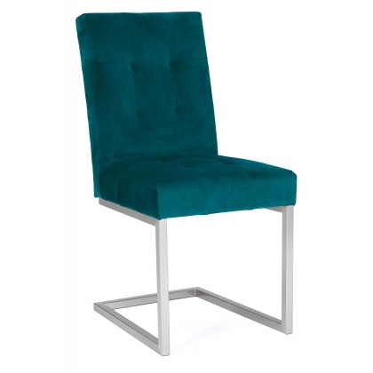 Tivoli Upholstered Cantilever Chair - Sea Green Velvet