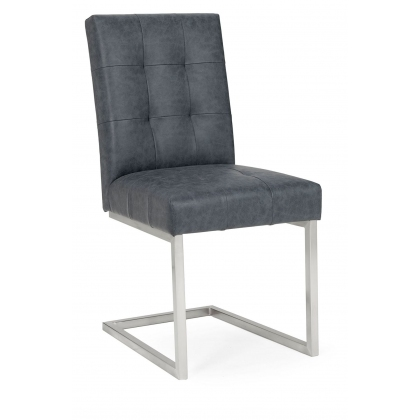 Tivoli Upholstered Cantilever Chair - Mottled Black Faux Leather