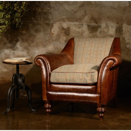 Dalmore Accent Chair (Tweed & Hide) by Tetrad Harris Tweed