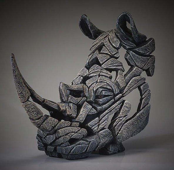 Rhino Bust (White finish) - Edge Sculpture