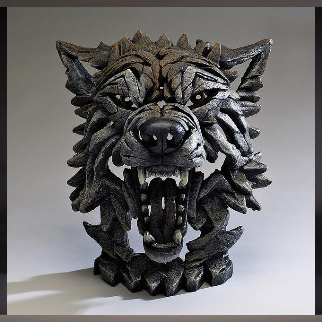 Wolf Bust (Timber finish) - Edge Sculpture