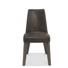 Cadell Pair of Upholstered Dining Chairs (Distressed Brown Leather)