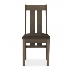 Turin Dark Oak Slatted Chair (Distressed Bonded Leather)