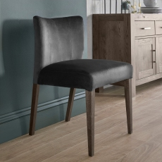 Turin Dark Oak Low Back Upholstered Chair (Gun Metal Velvet)