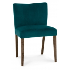 Turin Dark Oak Low Back Upholstered Chair (Sea Green Velvet)