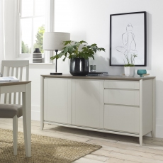 Bergen Grey Washed Oak & Soft Grey Wide Sideboard