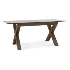 Turin Dark Oak Glass Top Dining Table