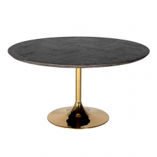 Blackbone 140cm Round Dining Table - Gold Collection