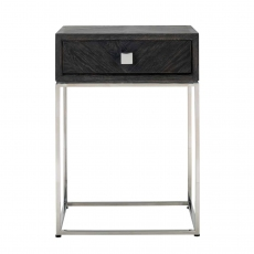 Blackbone Side Table with Drawer - Silver Collection