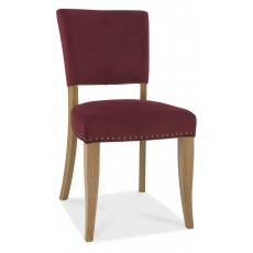 Indus Rustic Oak Pair of Upholstered Dining Chairs (Crimson Velvet)