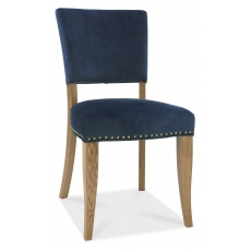 Indus Rustic Oak Pair of Upholstered Dining Chairs (Blue Velvet)