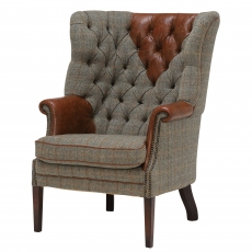 MacKenzie Chair (Tweed with Hide Headrest, Arms & Pipng) by Tetrad Harris Tweed