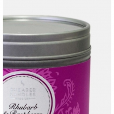 Rhubarb and Raspberry Small Candle Tin by Shearer Candles