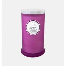 Rhubarb and Raspberry Tall Pillar Jar Candle by Shearer Candles