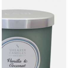 Vanilla and Coconut Tall Pillar Jar Candle by Shearer Candles