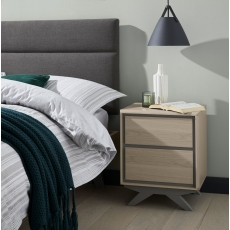 Brunel Scandi Oak & Dark Grey 2 Drawer Nightstand