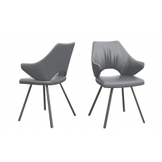 Zola Dark Grey Faux Leather Dining Chairs (Set of 2) by Torelli