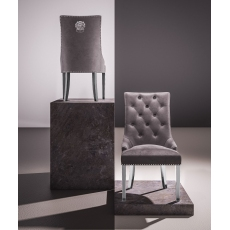 Donatello Silver Grey Velvet Dining Chairs (Set of 2)