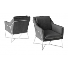 Lara Dark Grey Velvet Lounge Chair