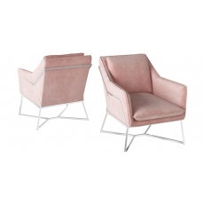 Lara Pink Velvet Lounge Chair