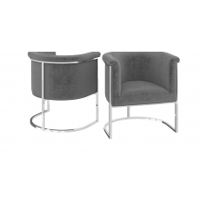 Martina Silver Grey Velvet Lounge Chair by Torelli