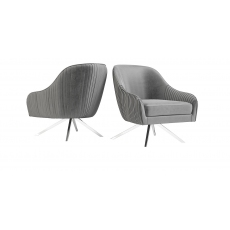 Bianca Silver Grey Velvet Swivel Lounge Chair