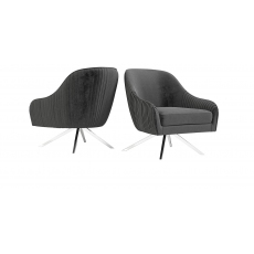 Bianca Dark Grey Velvet Swivel Lounge Chair