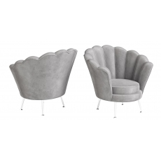 Erica Silver Grey Velvet Lounge Chair