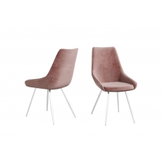 Lanna Pink Velvet Dining Chairs (Set of 2) by Torelli
