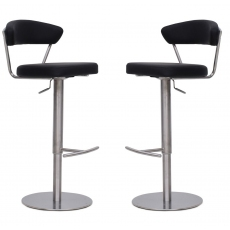 Gino Black Faux Leather Bar Stools (Set of 2) by Torelli