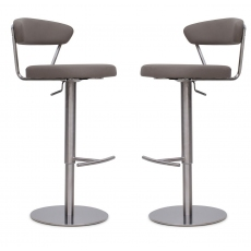 Gino Taupe Faux Leather Bar Stools (Set of 2) by Torelli