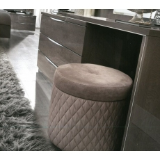 Platinum Quilted Pouffe Stool