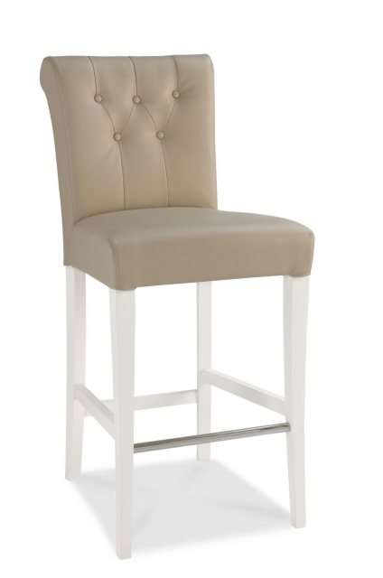 Hampstead Two Tone Bar Stool (Ivory Bonded Leather)