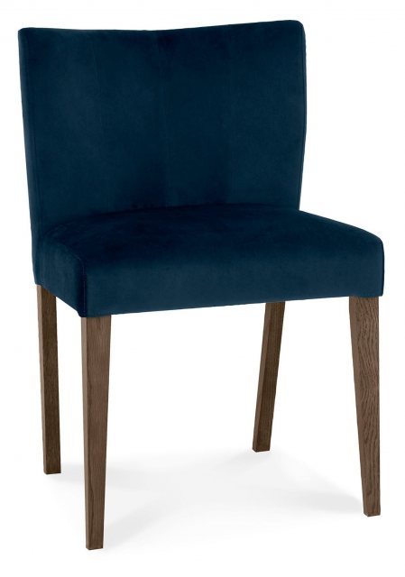 Turin Dark Oak Low Back Upholstered Dark Blue Velvet Chairs