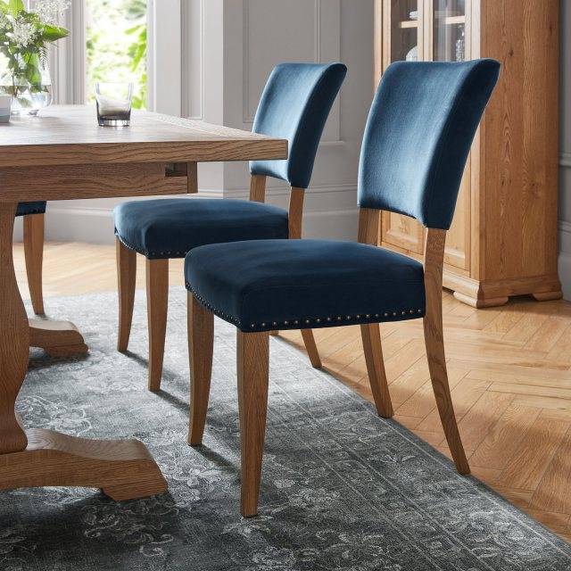 Indus Rustic Oak Upholstered Dining Chair (Blue Velvet)