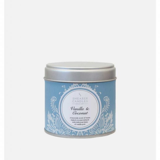 Vanilla and Coconut Large Candle Tin by Shearer Candles