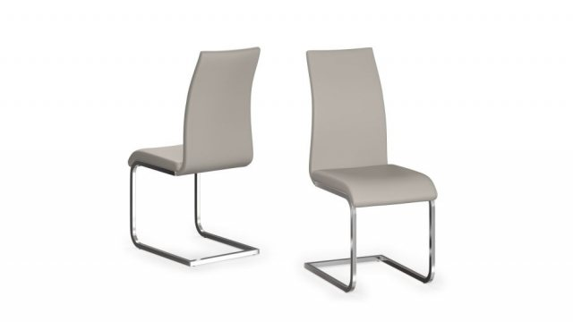 Paolo Pair of Cream Faux Leather Dining Chairs by Argento