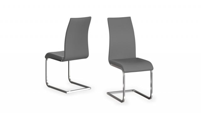 Paolo Pair of Grey Faux Leather Dining Chairs