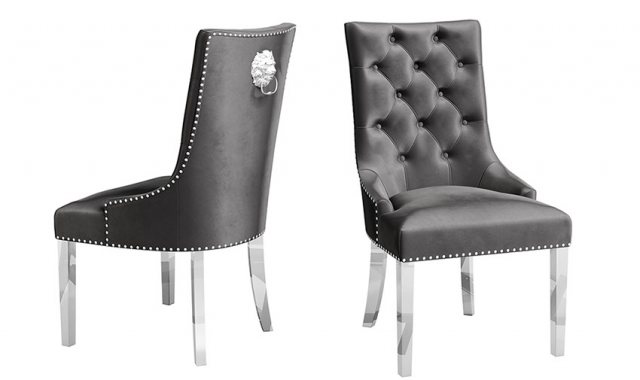 Donatello Dark Grey Velvet Dining Chairs (Set of 2) by Argento