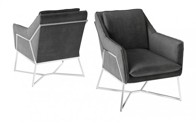Lara Dark Grey Velvet Lounge Chair by Torelli