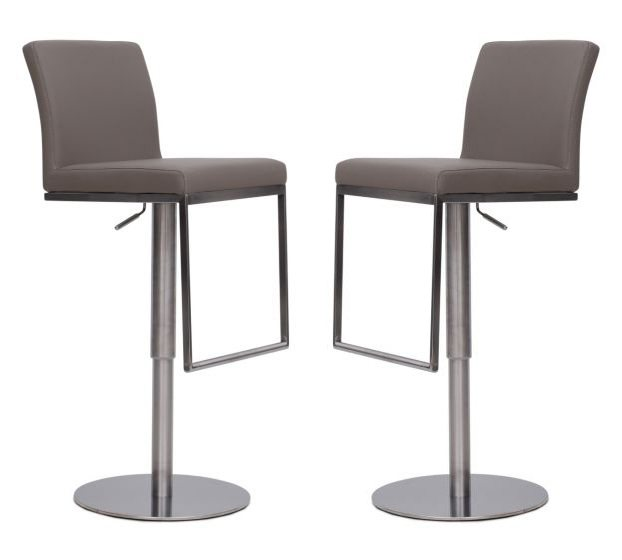 Enzo Taupe Faux Leather Bar Stools (Set of 2)