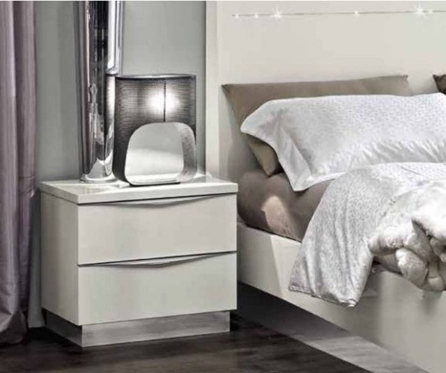 Onda White 2 Drawer Bedside by Camel Group