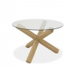 Turin Light Oak Round Glass Top Dining Table